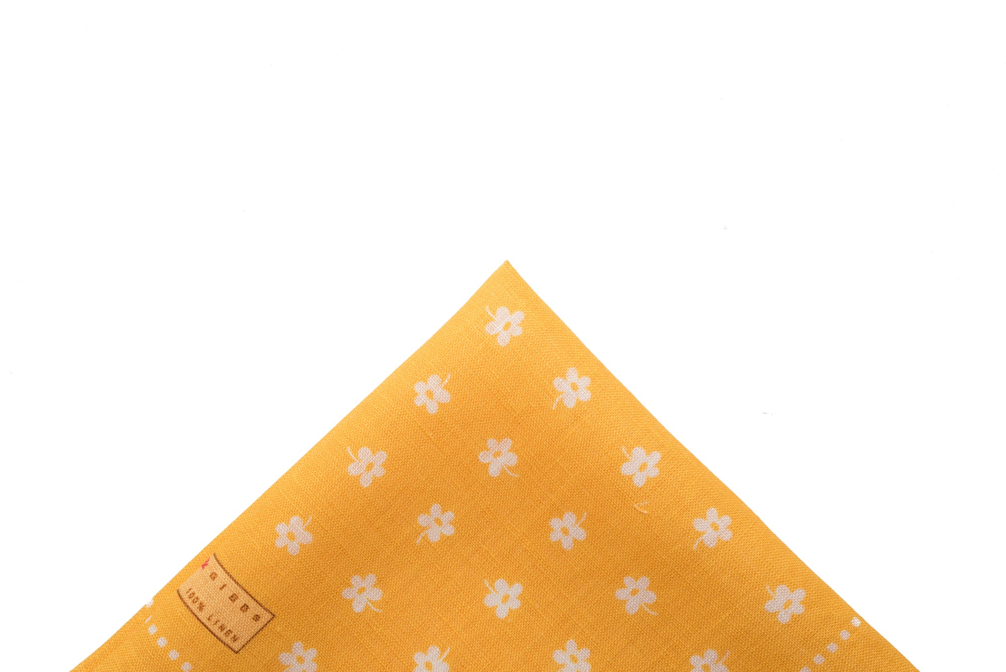 Pocket Square Yellow - White Flower