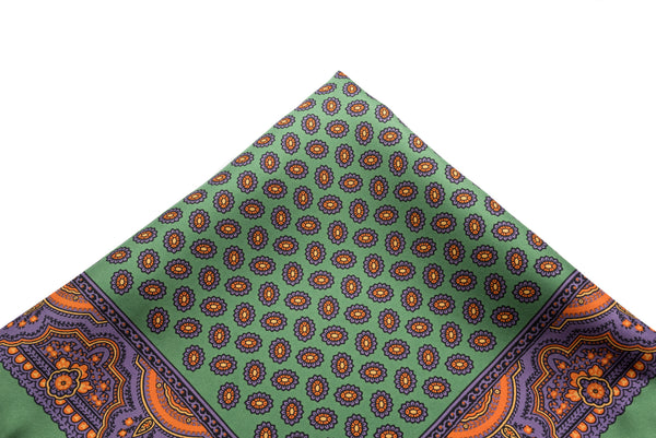 Pocket Square Green - Purple Neat
