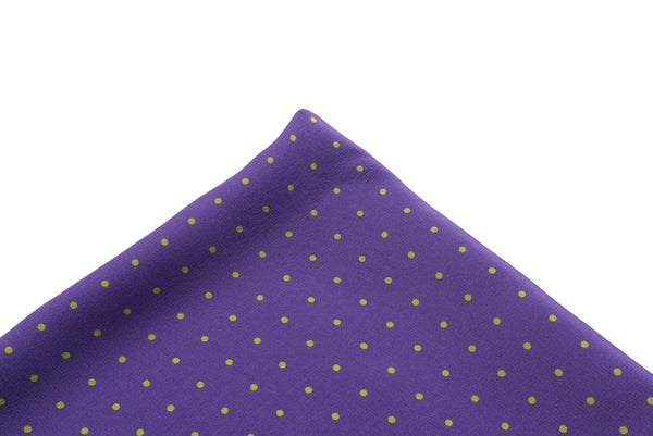 Pocket Square Purple - Green Dot