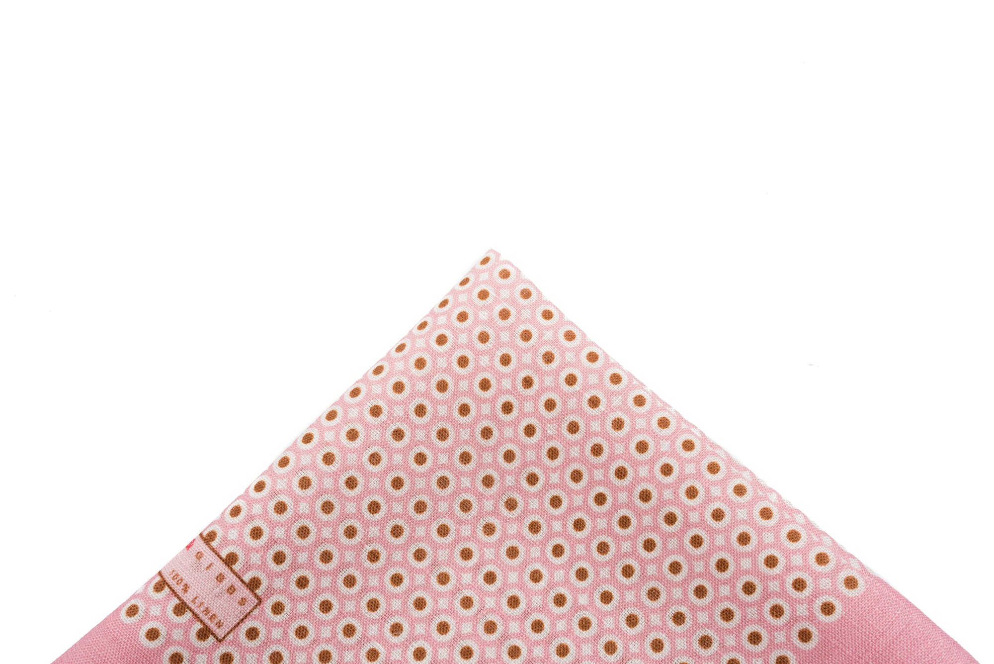 Pocket Square Pink - Brown Dot