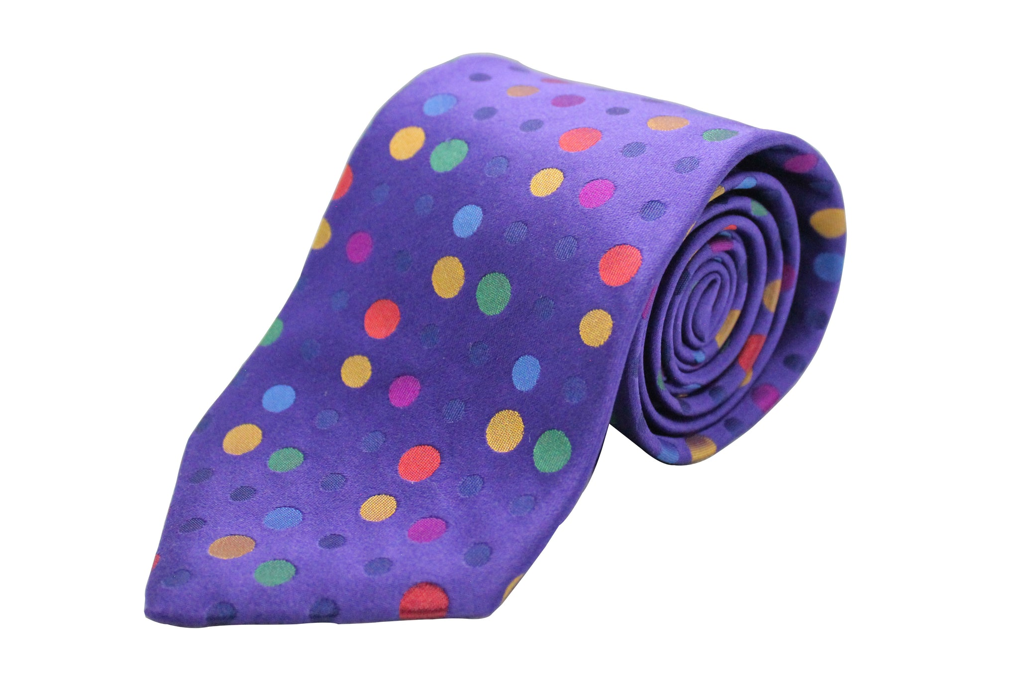 Purple with Multi-Colored Polka Dots