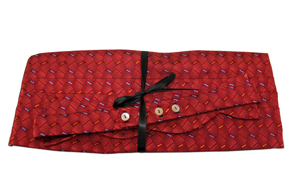 Red Geometric Cummerbund Set