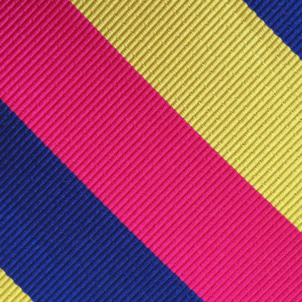 Wide Stripe Pink/Blue/Gold Custom Neck Tie