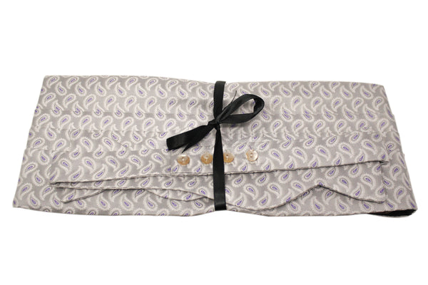 Grey with Silver and Purple Paisley Cummerbund Set