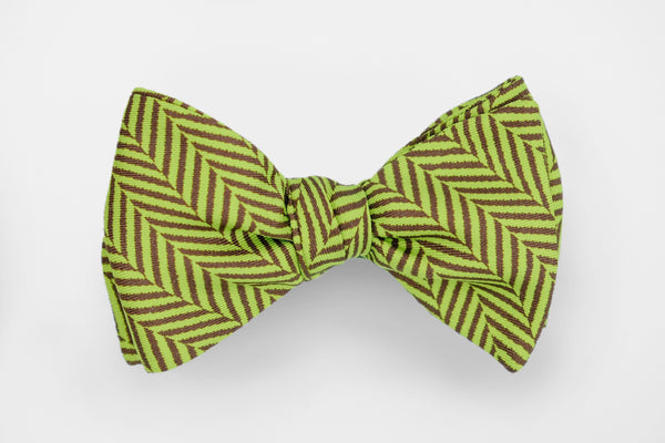 Green/Brown Herringbone Bow Tie