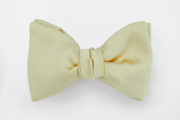 Champagne Solid Satin Bow Tie