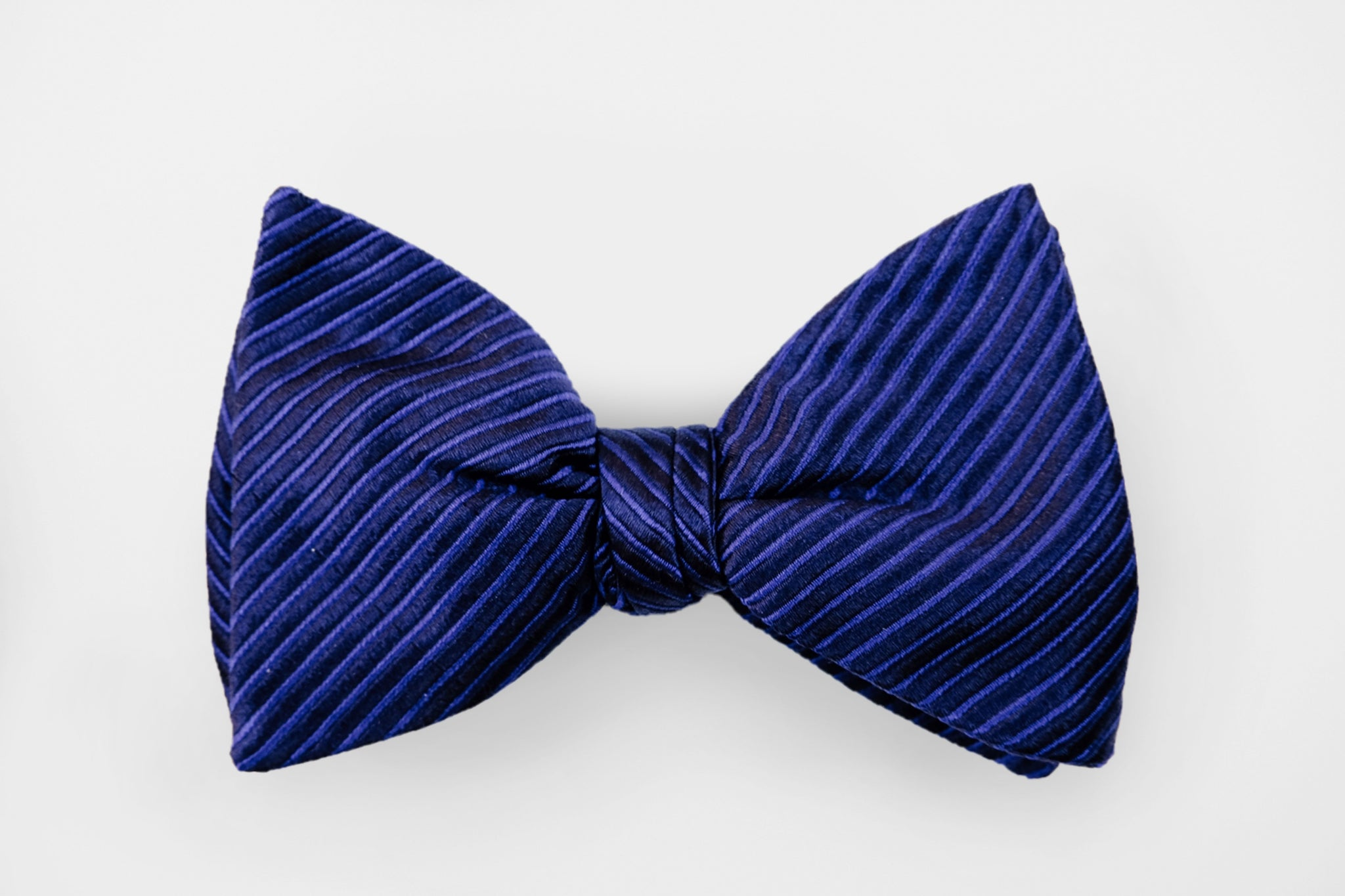 Blue/Black Small Stripe Bow Tie