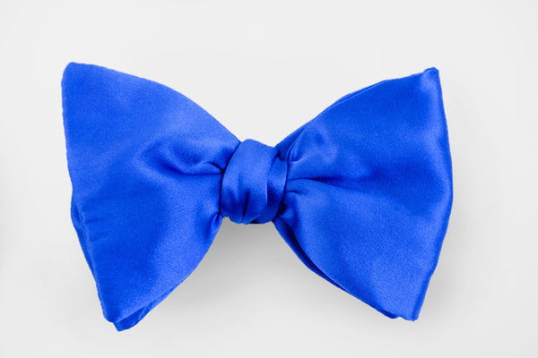 Royal Blue Solid Satin Bow Tie