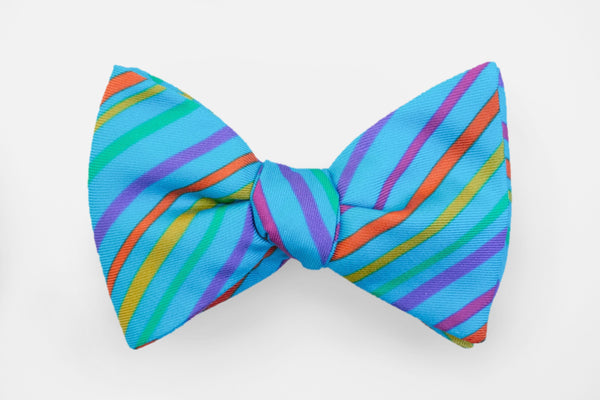 Light Blue Colorful Stripes Bow Tie