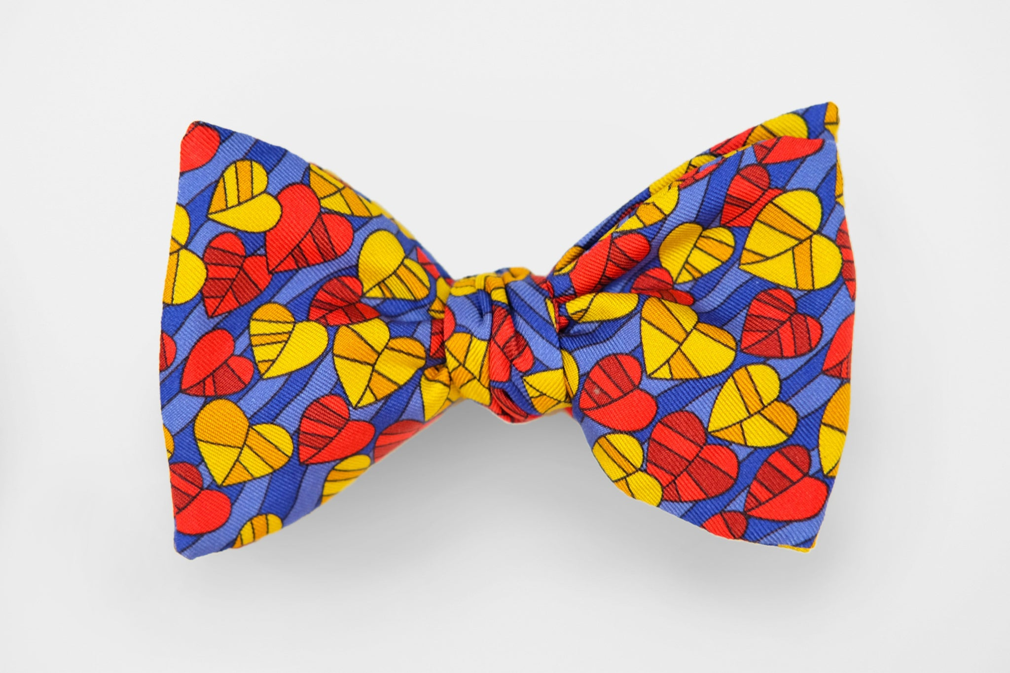 Purple, Yellow and Red Hearts Bow Tie