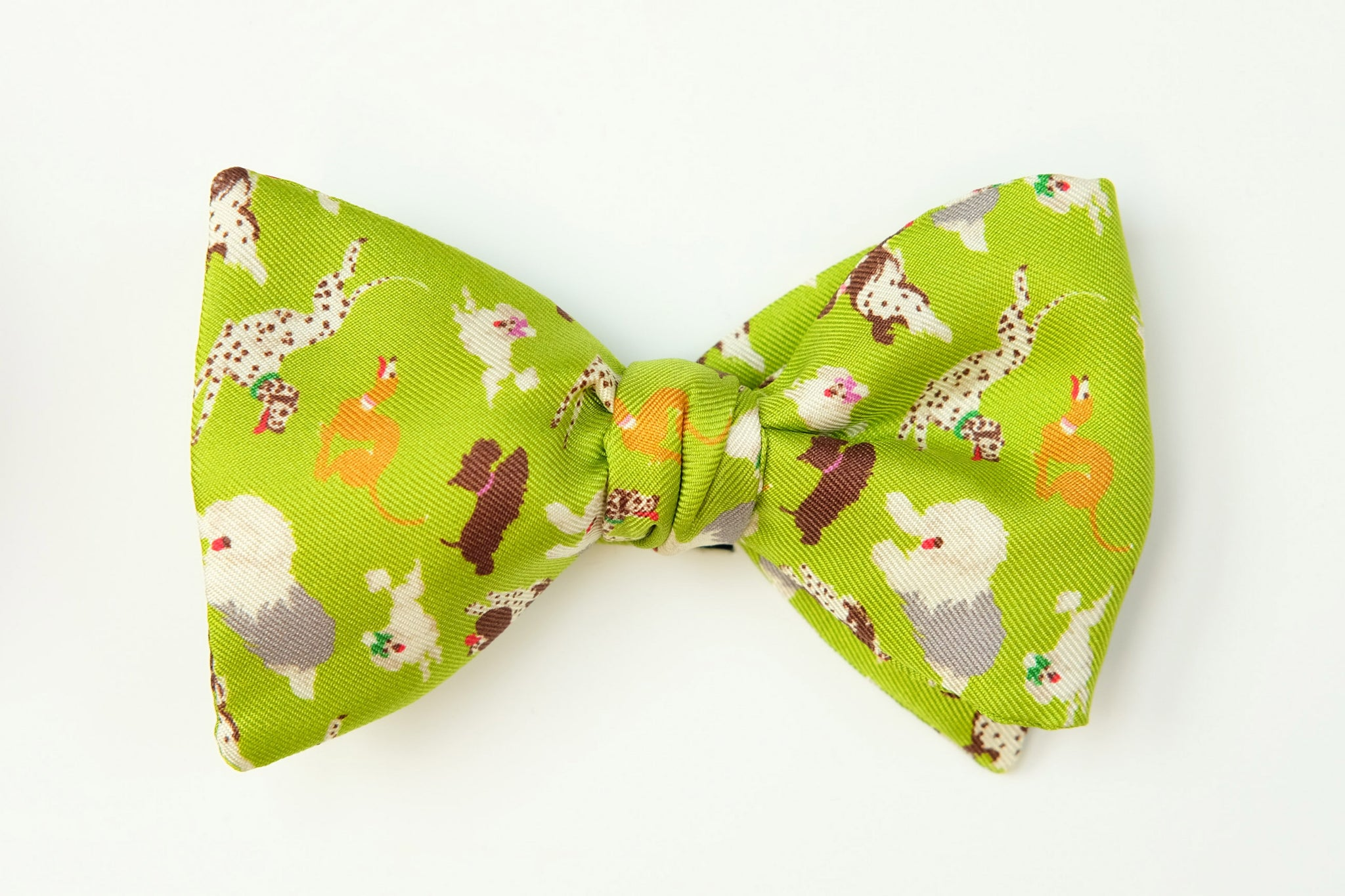 Lime Green Dogs Print Bow Tie