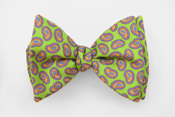 Lime Green and Purple Paisley Bow Tie