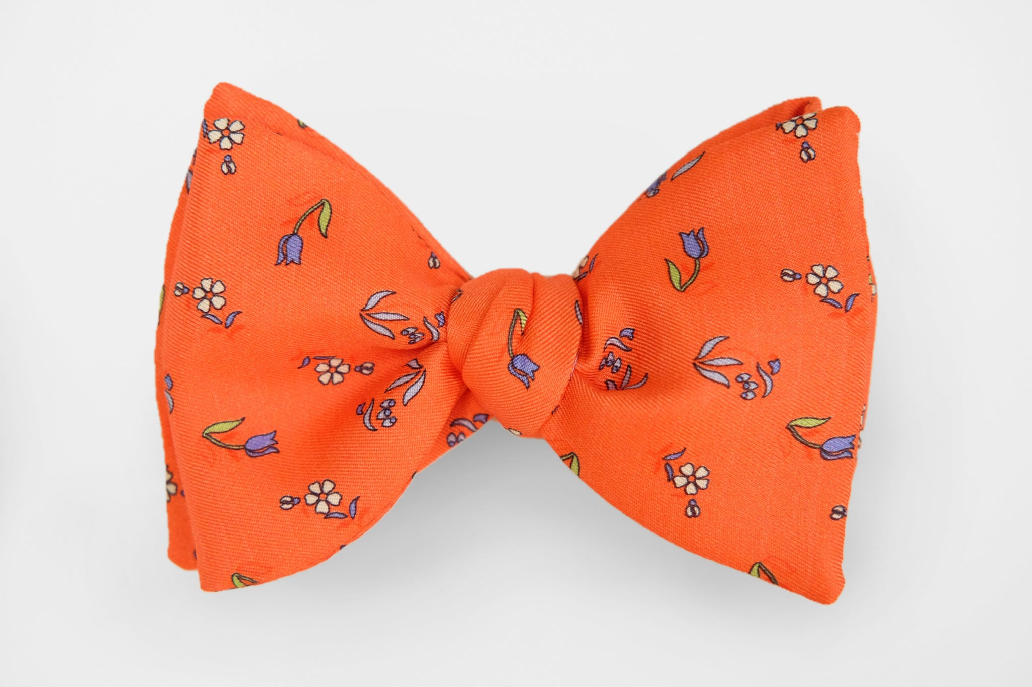 Bright Orange Spring Tulips Bow Tie