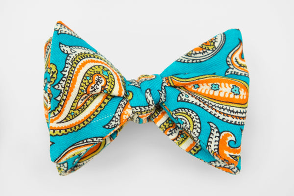 Bright Teal Paisley Print Bow Tie