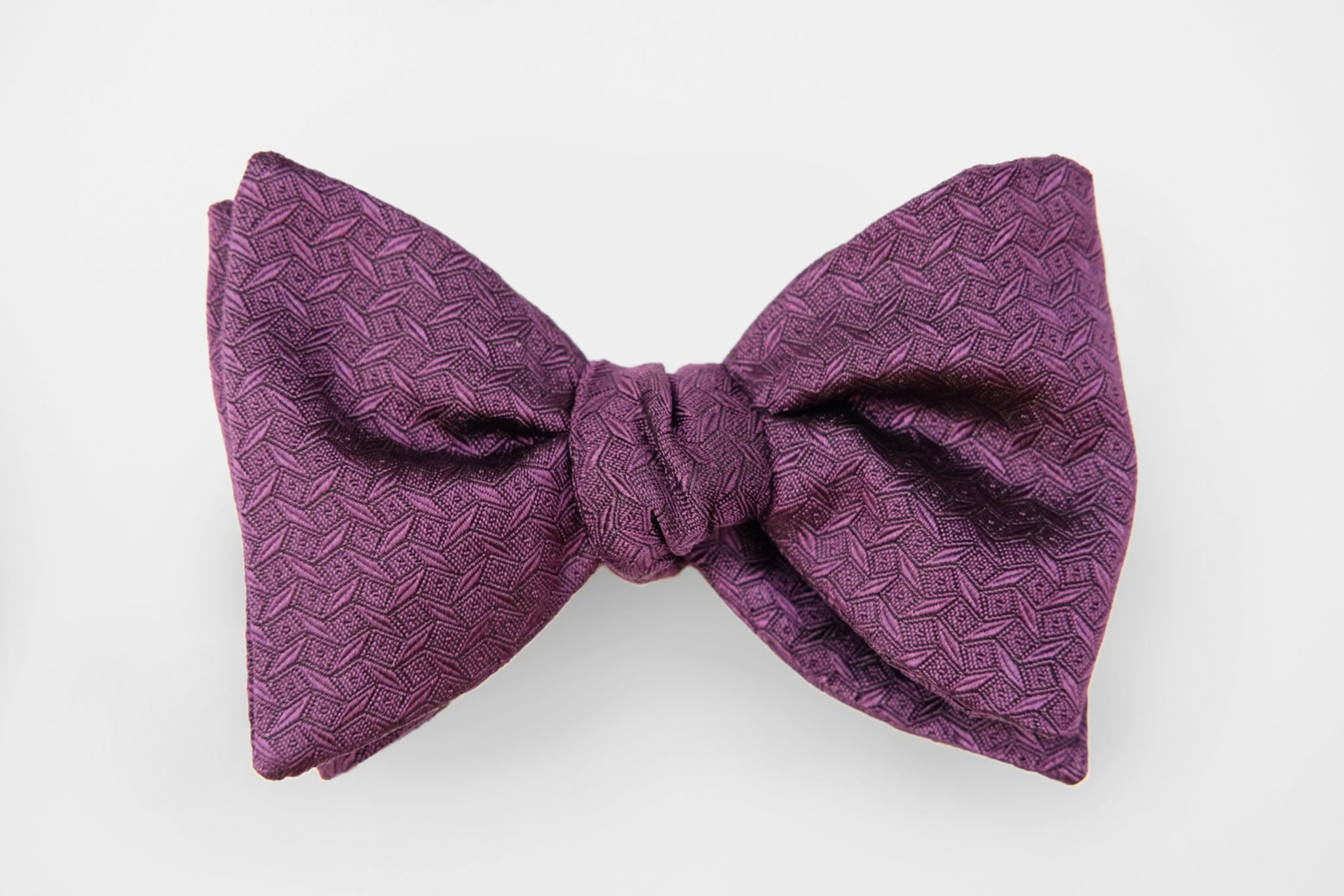 Purple Geometric Woven Bow Tie