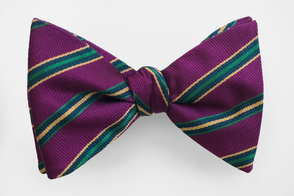 Plum with Gold and Green Stripes