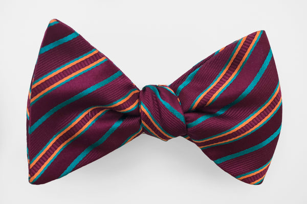 Plum with Colored Stripes Mardi Gras Bow Tie