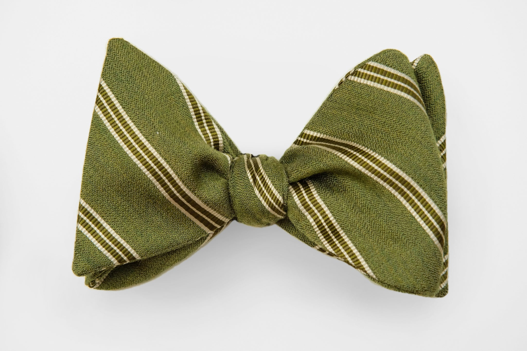 Green Stripe on Green Woven Bow Tie