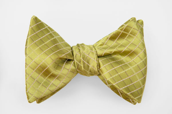 Green Satin Woven Squares Bow Tie