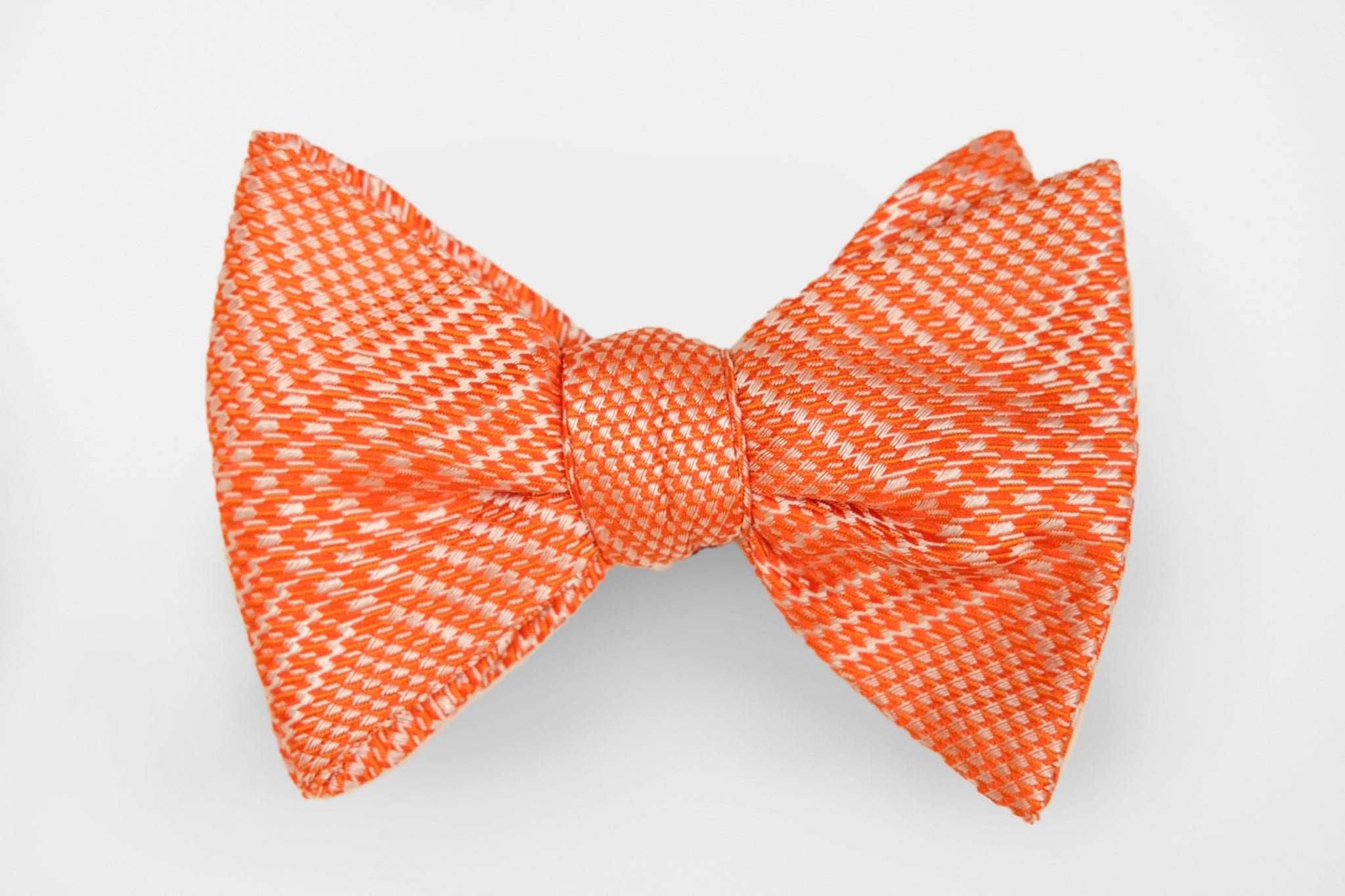 Orange and Silver Woven Bow Tie