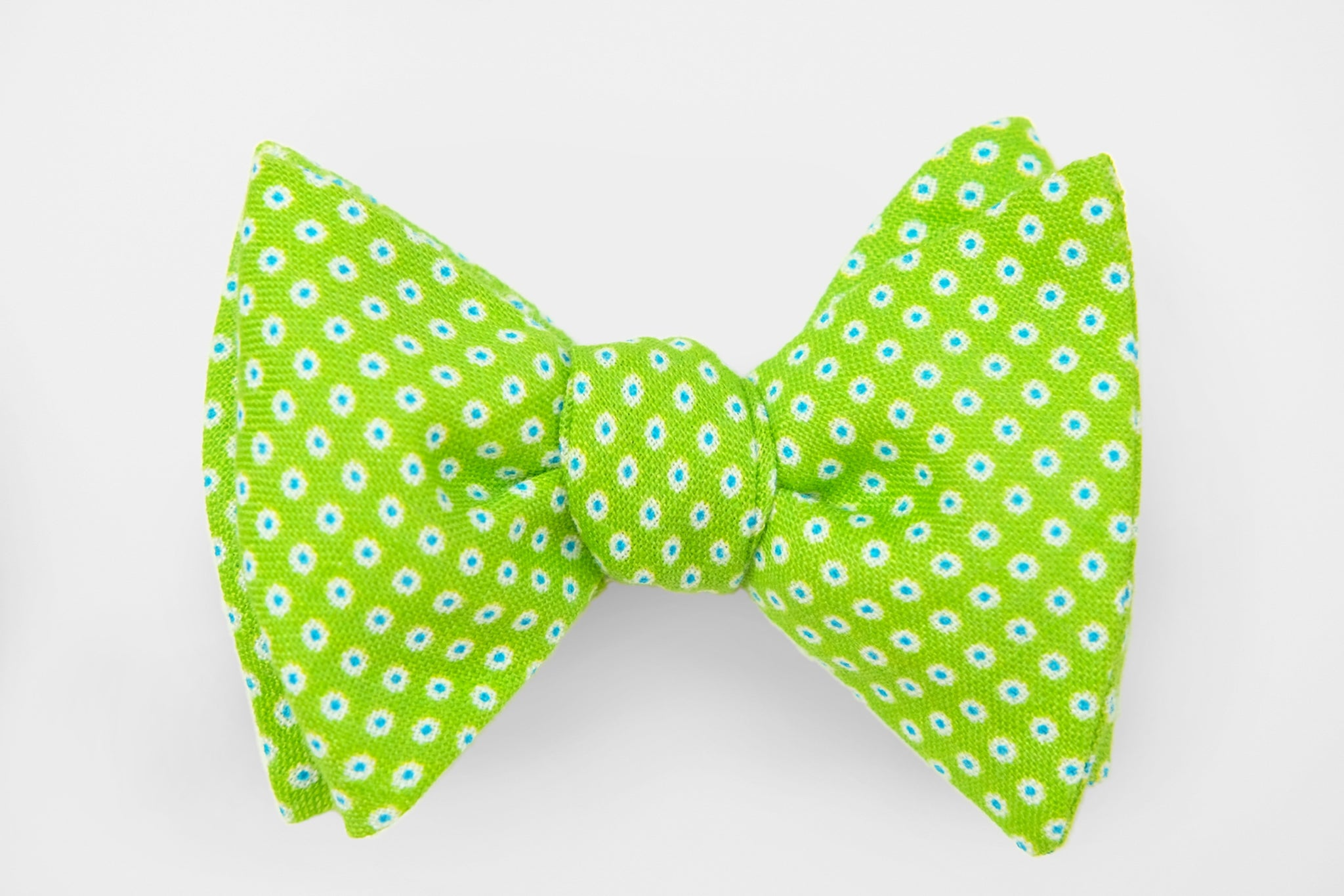 Bright Green with Blue/White Dots