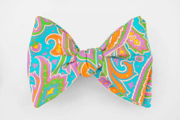Bright Aqua Multi Colored Paisley