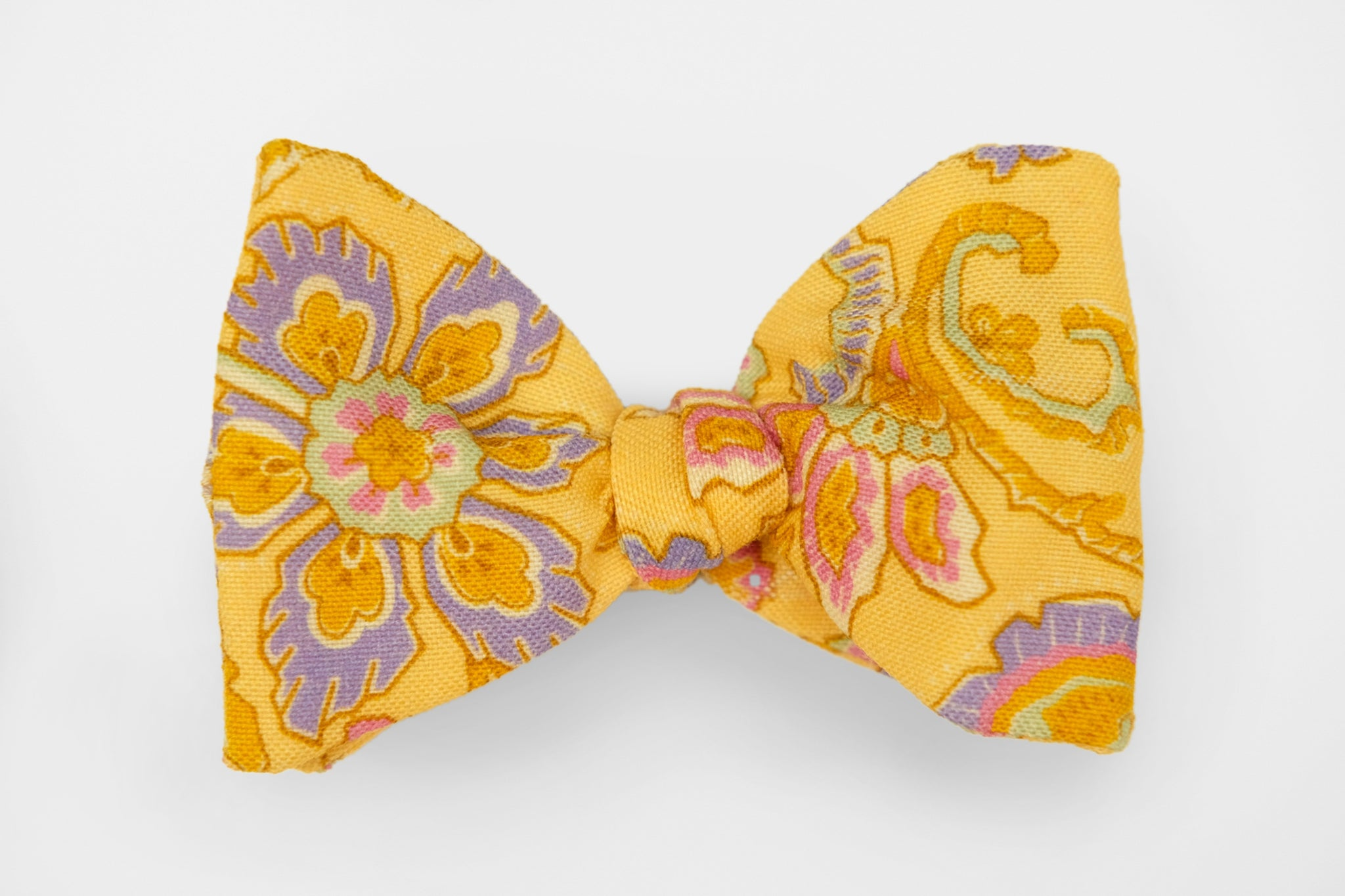 Big Floral on Bright Yellow Bow Tie