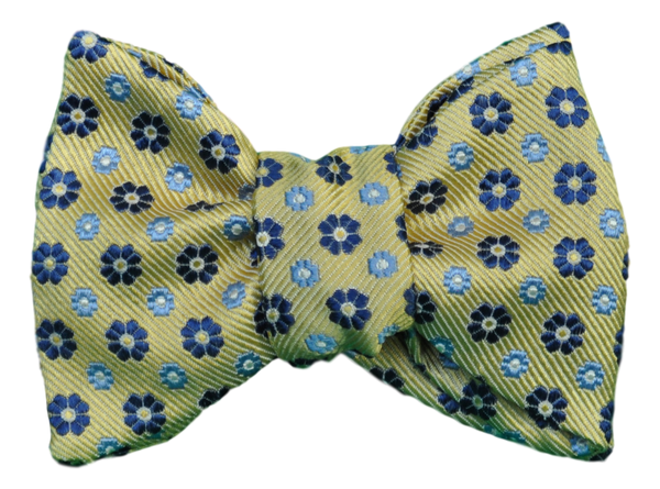 NEW Yellow with Blue Flowers