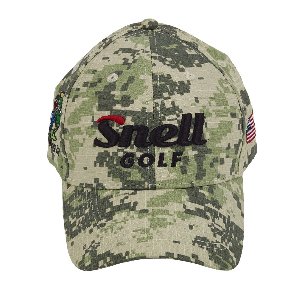 Side View of Snell Golf Camo Hat with American Flag 220b4a076edf