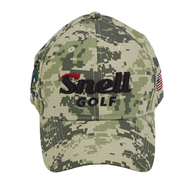 Side View of Snell Golf Camo Hat with American Flag