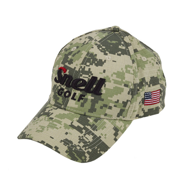 Snell Golf Camo Hat with American Flag