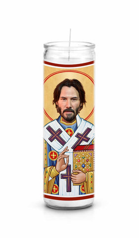 Keanu Reeves Funny Saint Celebrity Prayer Candle
