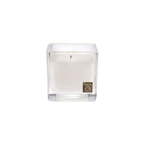 AROMATIQUE WHITE TEAK & MOSS MEDIUM GLASS CUBE CANDLE