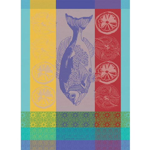 GARNIER-THIEBAUT FRANCE PLANCHA TURQUOISE KITCHEN TOWEL