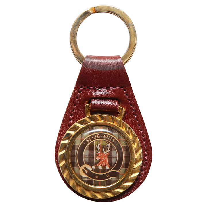 Clearance Clan Crest Leather Key Chain - Colquhoun