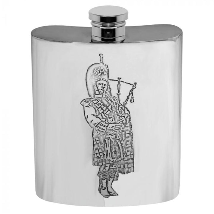 Flask - Pewter Bagpiper