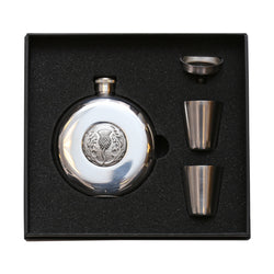 Flask Set - Thistle with Glass Back