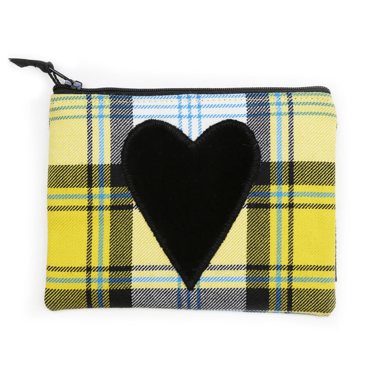 Heart Utility Pouch - Yellow Watson Tartan Black