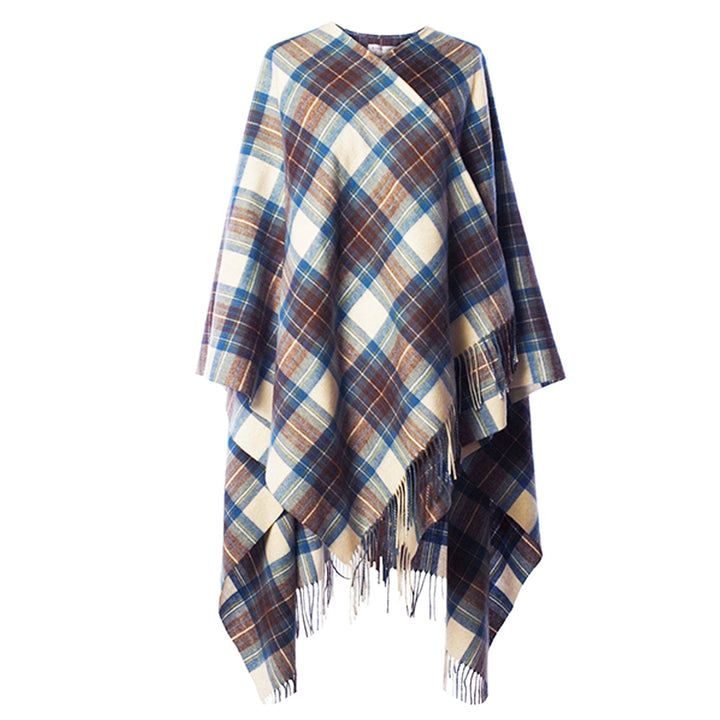 Lambswool Tartan Cape - Muted Blue Stewart