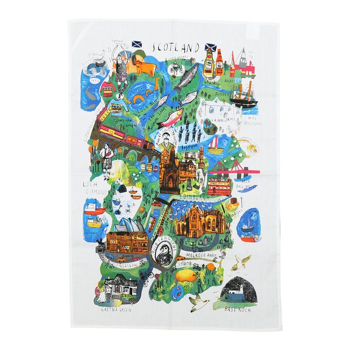 Scotland Mapped Out Tea Towel