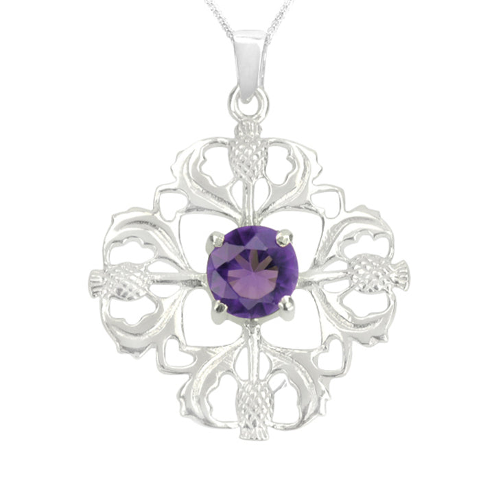 Sterling Silver Four Thistle Amethyst Necklace