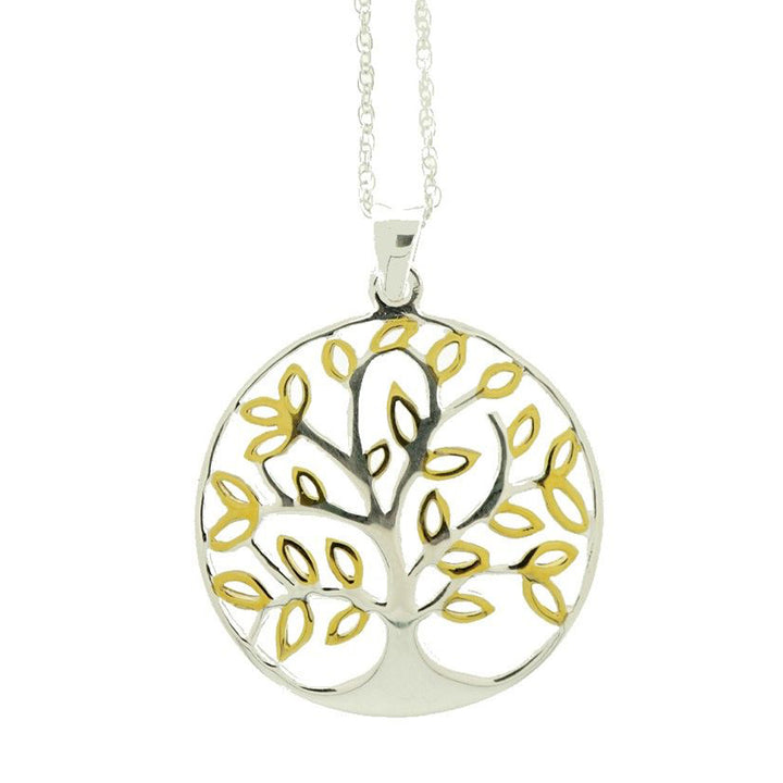 Sterling Silver and Gold Plated Tree of Life Necklace