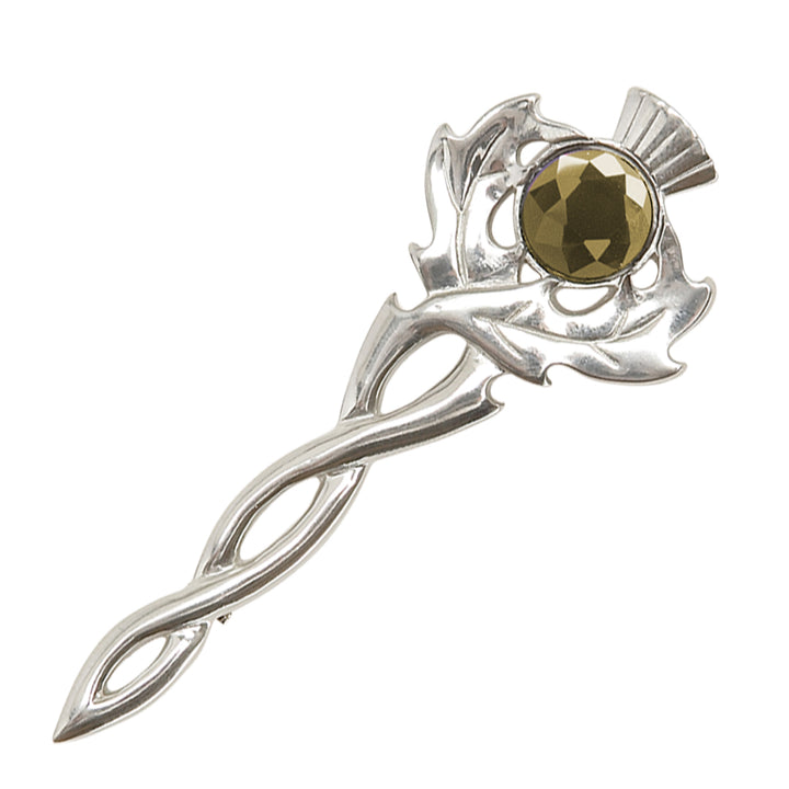 Thistle Kilt Pin with Stone Cairngorm