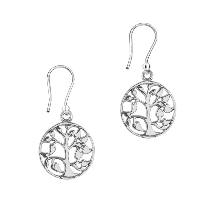 Tree of Life Silver Round Earrings