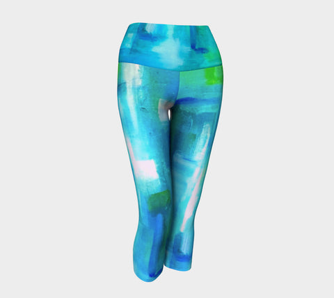 Blue Windows Yoga Capris