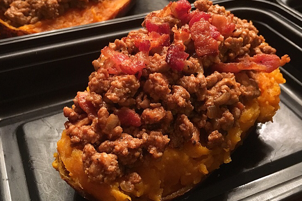 WEEKLY MEAL PREP:  BARBECUE BEEF AND BACON STUFFED SWEET POTATO