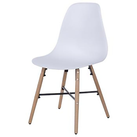 Core Products Aspen White Plastic Chair with Wooden Legs Metal Cross Rails