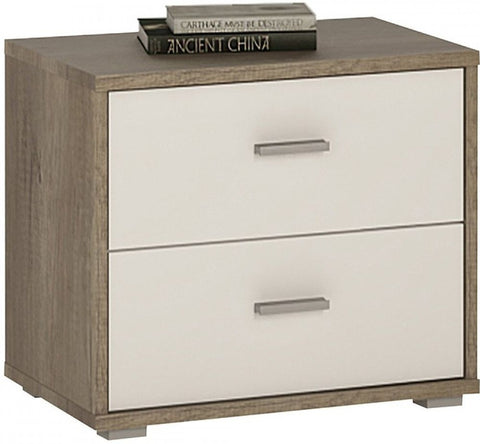 4 You Canyon Grey and Pearl White Bedside Cabinet