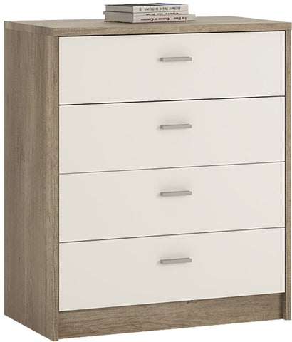 4 You Canyon Grey and Pearl White Chest of Drawers - 4 Drawer