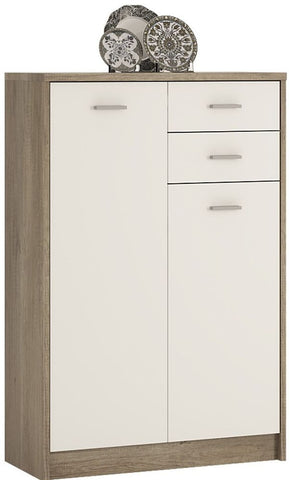 4 You Canyon Grey and Pearl White Cupboard - Tall 2 Door 2 Drawer
